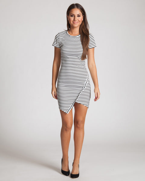 WILDE HEART EARN YOUR STRIPES DRESS-BLACK AND WHITE
