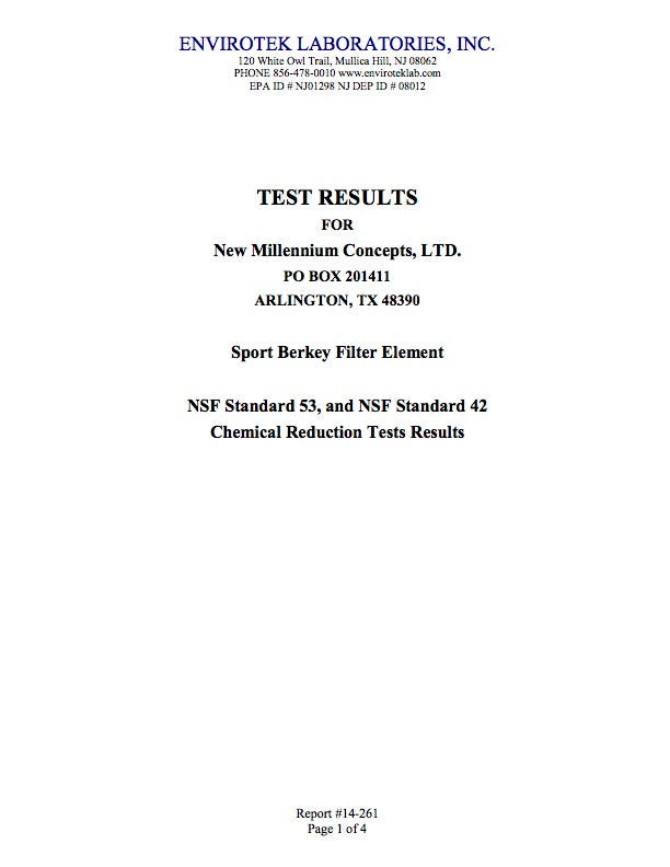 Laboratory Test result for Sport Berkey Filter Elements