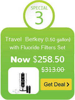 Travel Berkey Water Filter with Black Berkey Filter and Fluoride Filter Set