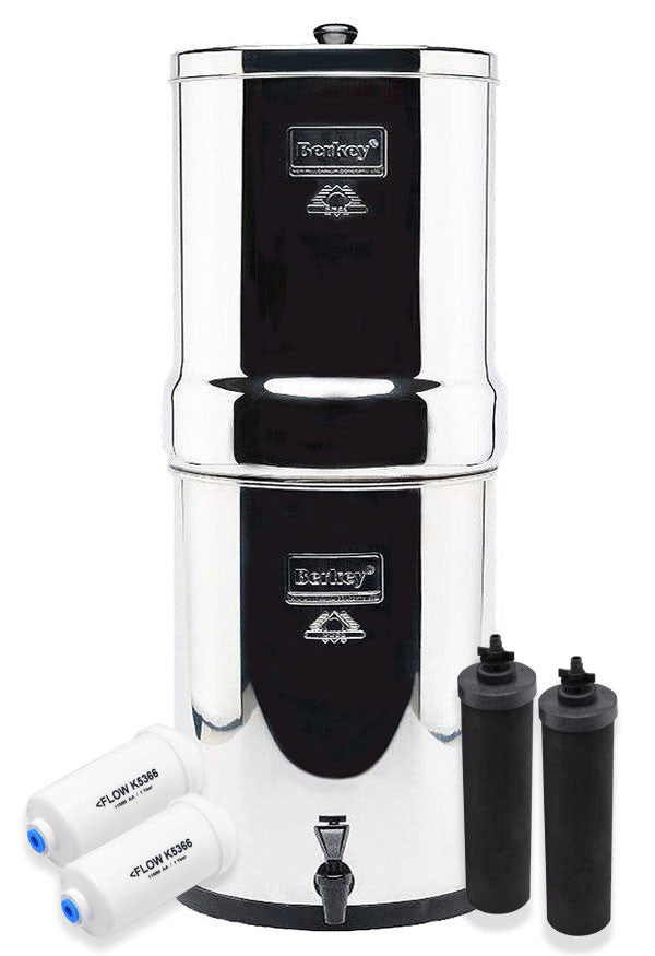 Royal Berkey 3.25 gallon Water Filter Special Set with 2 Black Elements and 2 Fluoride Filters