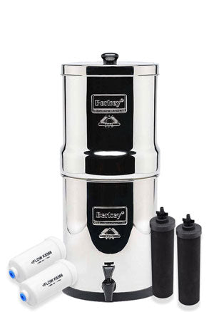 Travel Berkey 1.50 gallon Water Filter Special Set with 2 Black Elements and 2 Fluoride Filters