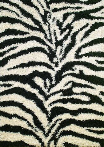 Concord Global Trading Shaggy Zebra Black Area Rug - KINGDOM RUGS - 1