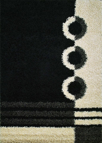 Concord Global Trading Shaggy Rings Black Area Rug - KINGDOM RUGS - 1