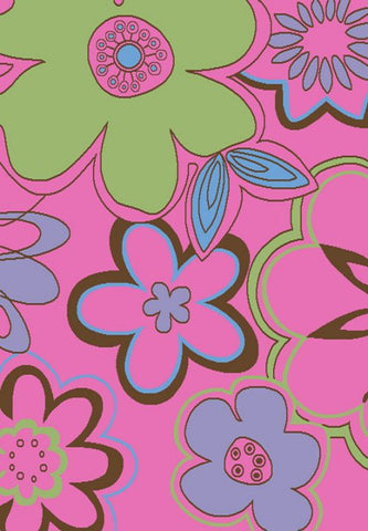 Concord Global Trading Alisa Groovy Flowers Pink Area Rug - KINGDOM RUGS