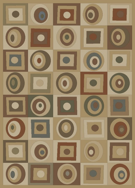 Concord Global Trading Soho Round & Squares Gold Area Rug - KINGDOM RUGS
