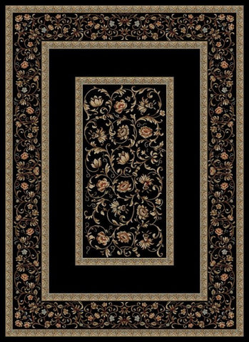 Concord Global Trading Ankara Floral Border Black Area Rug - KINGDOM RUGS - 1