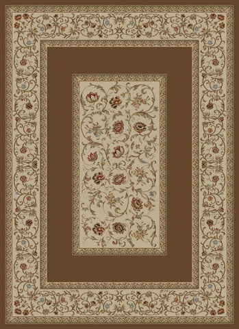 Concord Global Trading Ankara Floral Border Brown Area Rug - KINGDOM RUGS - 1