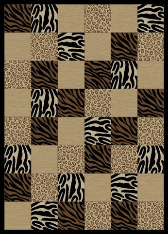 Concord Global Trading Soho Animal Boxed Black Area Rug - KINGDOM RUGS