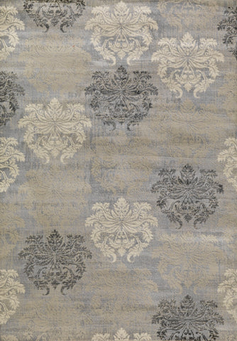 Concord Global Trading Lumina Damask Grey Area Rug - KINGDOM RUGS