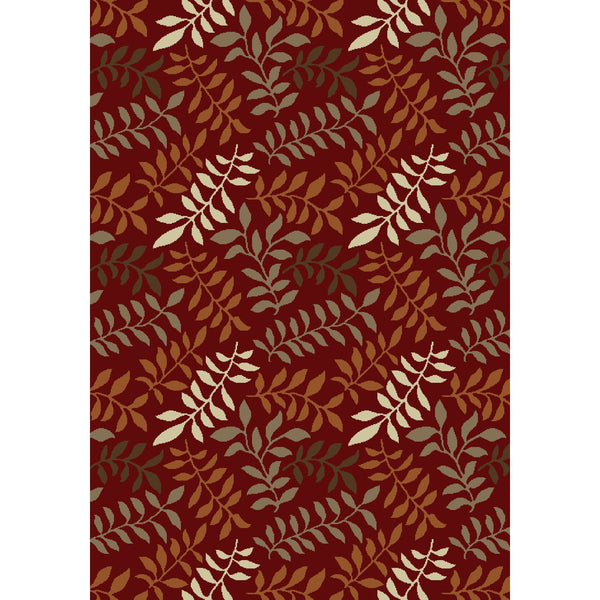 Concord Global Trading Chester Leafs Red Area Rug - KINGDOM RUGS - 1