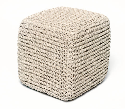 Anji Mountain Ivory Jute Pouf- Square - KINGDOM RUGS - 1