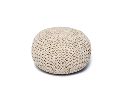 Anji Mountain Ivory Jute Pouf- Round - KINGDOM RUGS - 1
