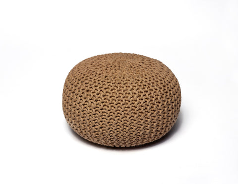 Anji Mountain Natural Jute Pouf- Round - KINGDOM RUGS - 1