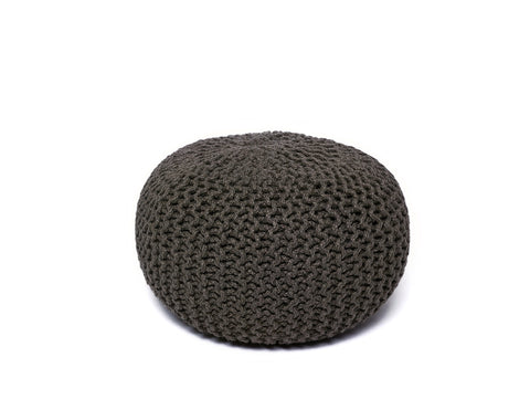 Anji Mountain Grey Jute Pouf- Round - KINGDOM RUGS - 1
