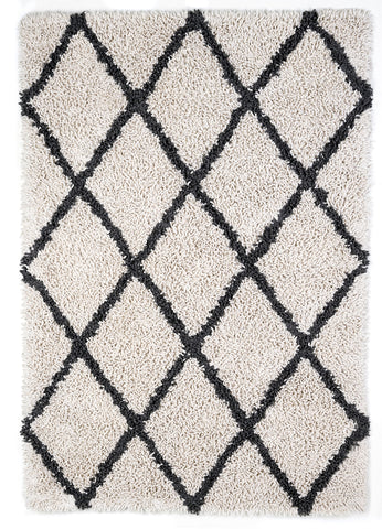 Anji Mountain Silky Shag Ivory/Grey Diamond Area Rug - KINGDOM RUGS - 1