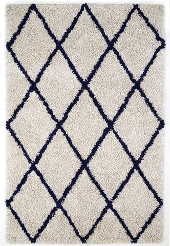 Anji Mountain Silky Shag Ivory/Navy Diamond Area Rug - KINGDOM RUGS - 1