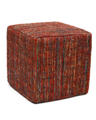 Anji Mountain Ruby Saree Pouf - Square - KINGDOM RUGS - 1