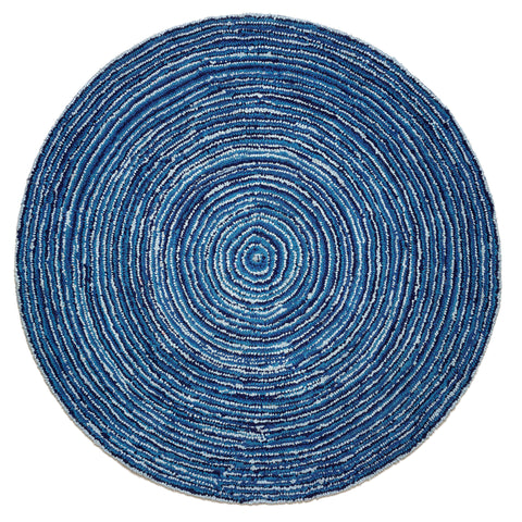 Anji Mountain Atlas Ripple Blue Skies- Round Area Rug - KINGDOM RUGS - 1
