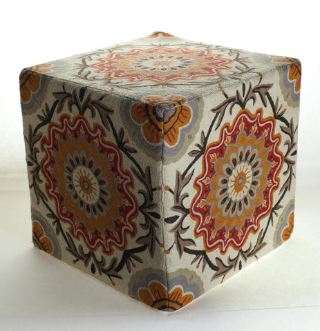 Momeni CSO-7 Orange Chainstitch Ottoman - KINGDOM RUGS