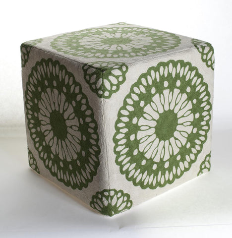Momeni CSO-8 Green Chainstitch Ottoman - KINGDOM RUGS