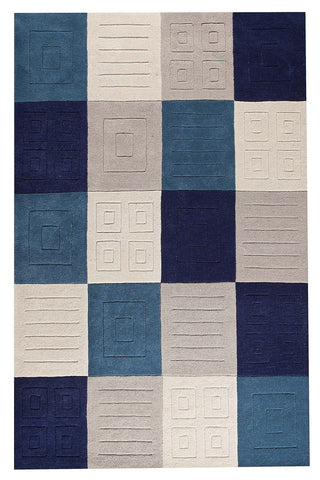 MAT Orange Cuadro Blue Grey Area Rug - KINGDOM RUGS - 1