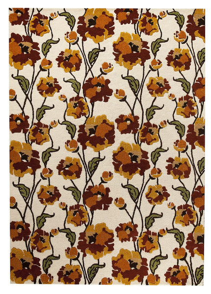 MAT Orange Fiore White Rust Area Rug - KINGDOM RUGS - 1