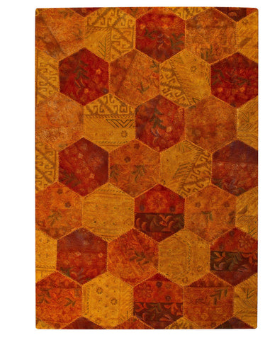 MAT Vintage Honey Comb Orange Area Rug - KINGDOM RUGS - 1