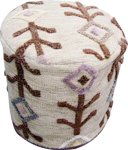 MAT The Basics Khema7 Beige Pouf - KINGDOM RUGS