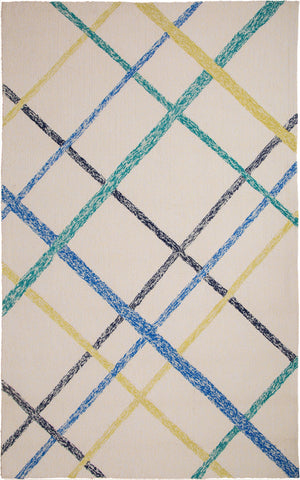 MAT Orange Lienzo Ivory Blue Area Rug - KINGDOM RUGS - 1