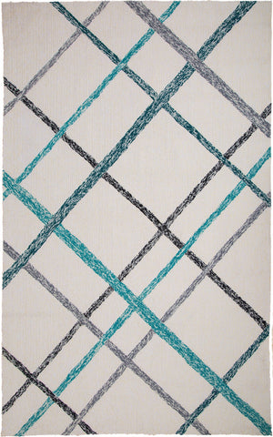 MAT Orange Lienzo Ivory Turquoise Area Rug - KINGDOM RUGS - 1
