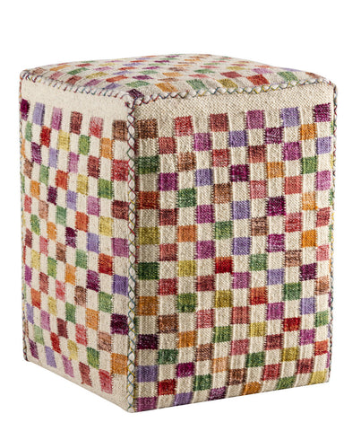 MAT The Basics Small Box White Multi Pouf - KINGDOM RUGS