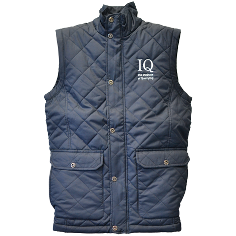 Navy blue, quilted, water repellant men's body warmer with Institute of Quarrying logo.