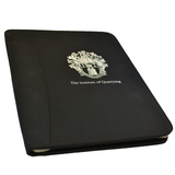 Black Fabric Conference Folder with Institute of Quarrying Logo