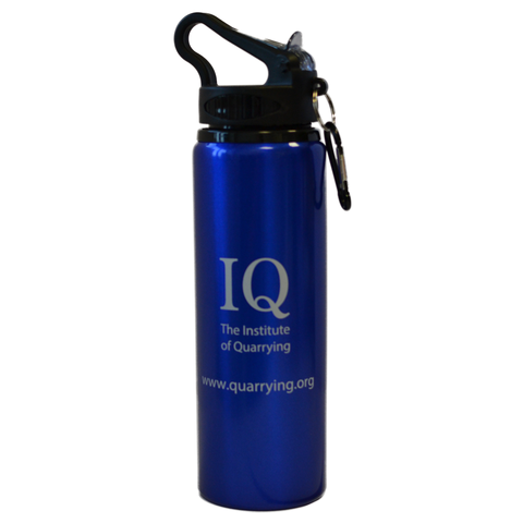 Blue aluminum 800ml water bottle with Institute of Quarrying logo.