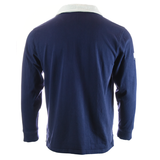 Backside of Institute of Quarrying branded Vintage Rugby Shirt Navy Blue with White Collar