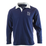 Institute of Quarrying branded Vintage Rugby Shirt Navy Blue with White Collar