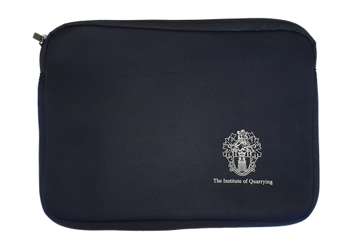 Institute of Quarrying navy blue neoprene laptop sleeve