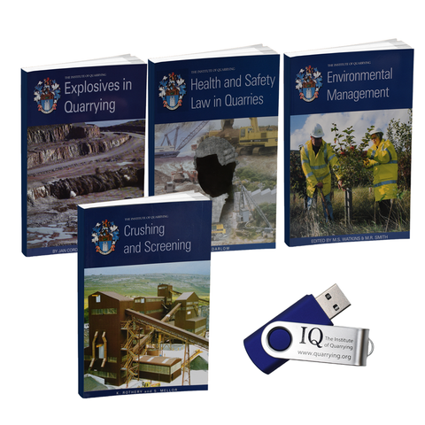 Returning to Learning Comprehensive Study Pack by Institute of Quarrying which include Explosives in Quarrying Book, Health and Safety Law in Quarries Book, Environmental Management Book and Crushing and Screening Book along with a 2GB USB.