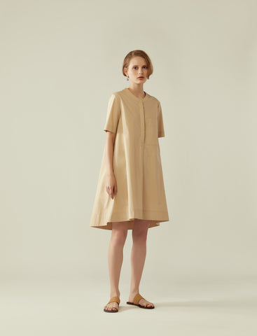 trapeze short sleeve shirt dress - wheat