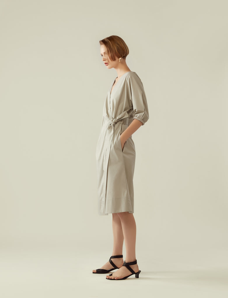 wrap dress with cocoon sleeve- earl grey