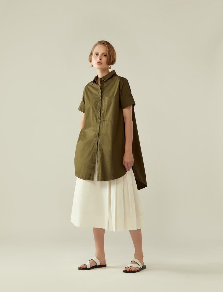 flared circular tunic shirt - khaki green