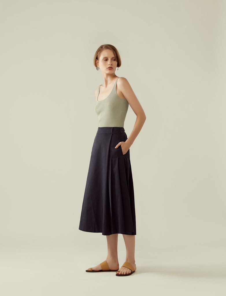 side pleated overlap culottes- midnight blue
