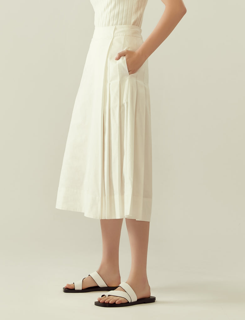 side pleated overlap culottes- white
