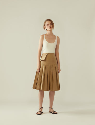 pleated wrap skirt with flap - khaki beige