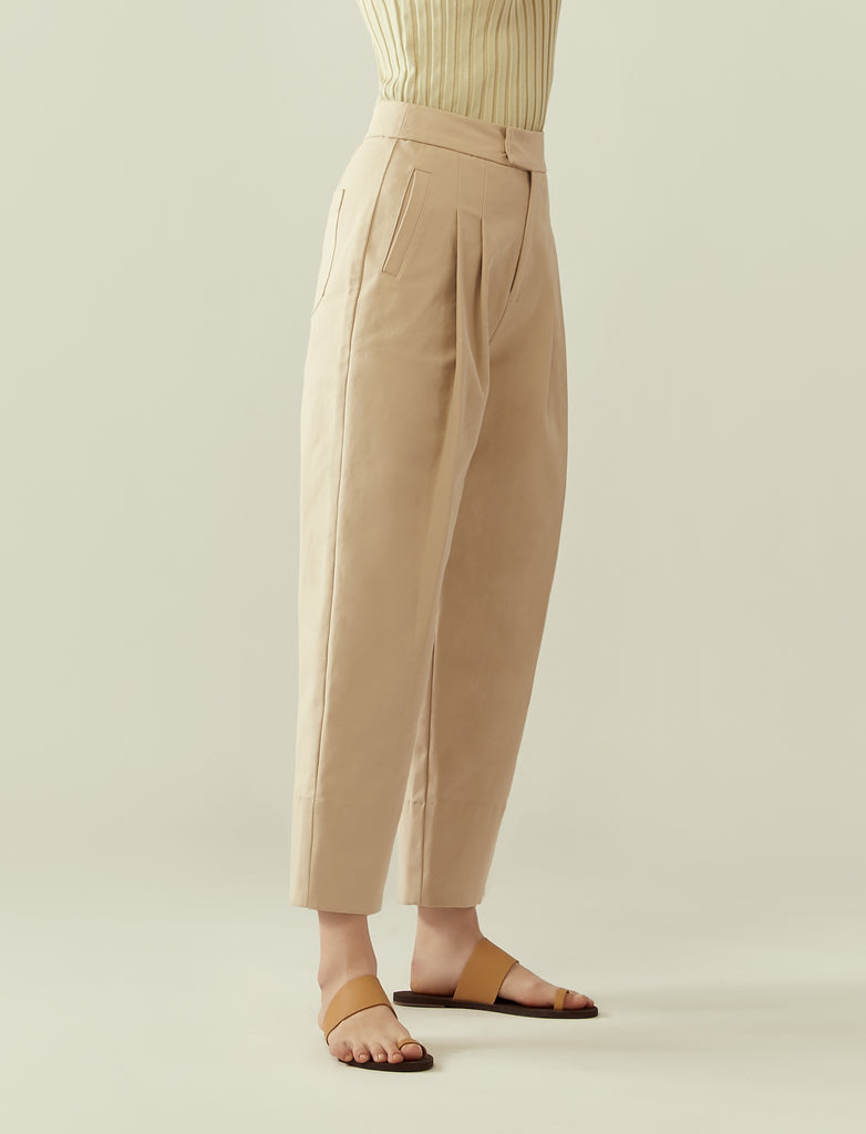 front pleat cocoon trousers - pale beige
