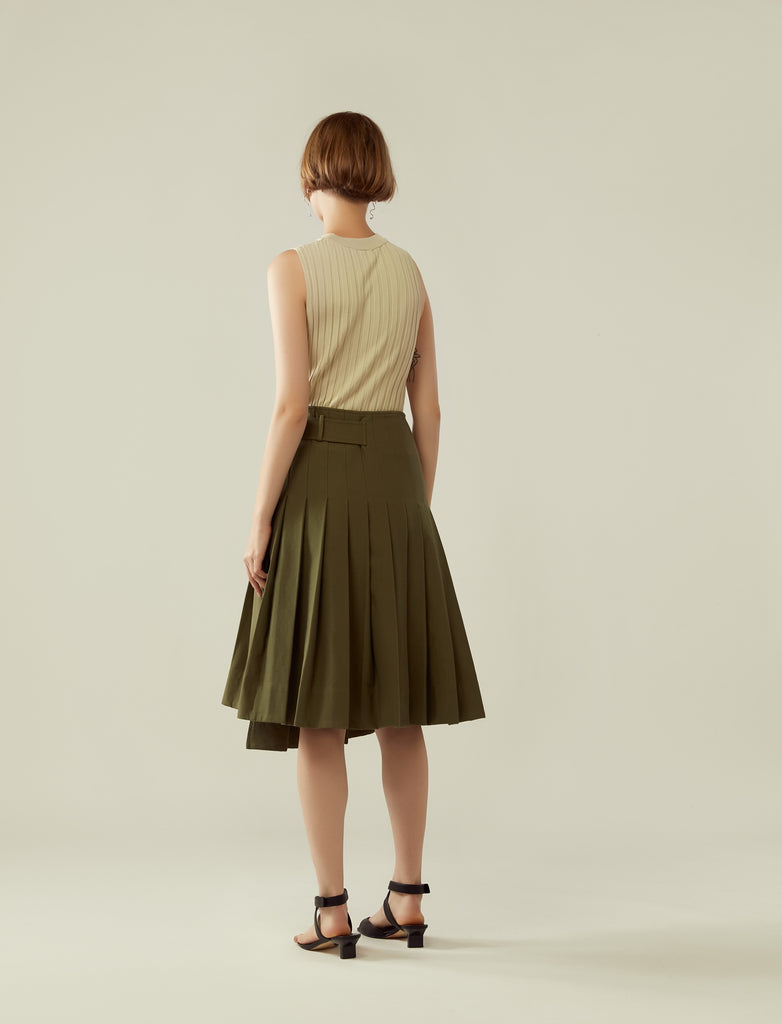 pleated asymmetrical buckled skirt - khaki green