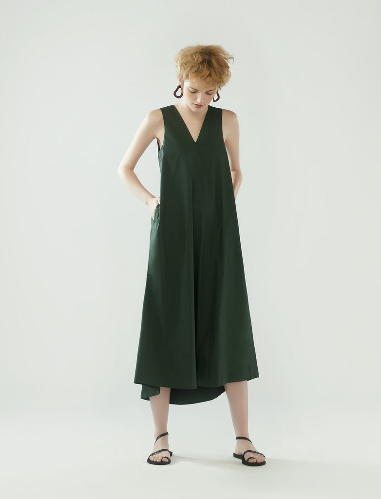 long tent dress with v-neckline - pine green