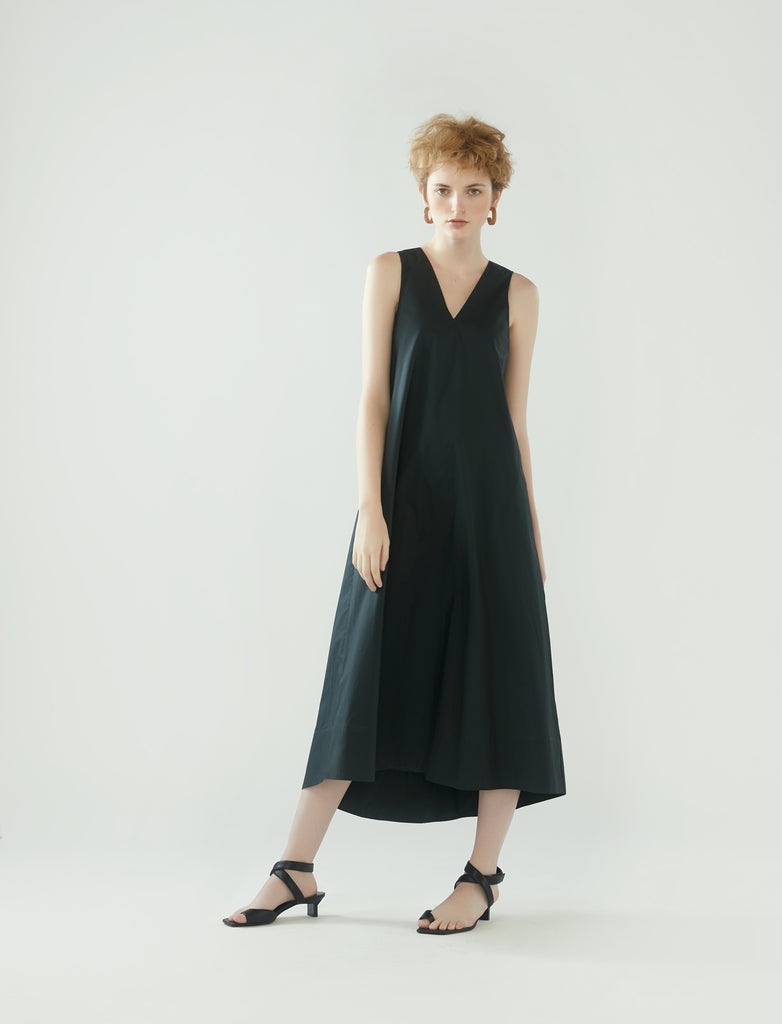 long tent dress with v-neckline - charcoal grey