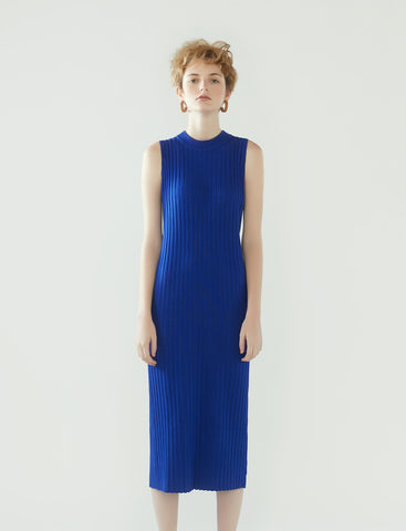 rib knit sleeveless dress- cobalt blue