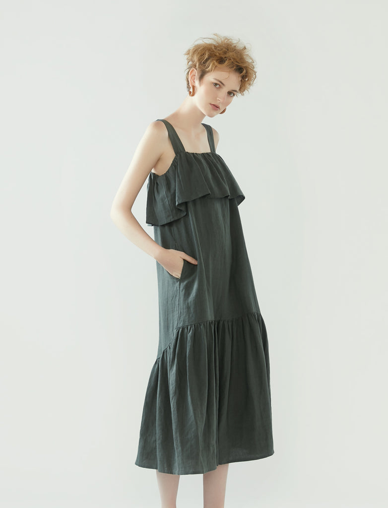 square neck dress with frilled hem - pine green